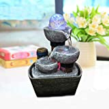 Indoor Fountain, Water Feature Zen Fountain Indoor Water Fountain for The Garden Feng Shui Indoor Ornaments Water Feature Ornaments Home Garden Decor (Grey Stones 14x10x21CM)