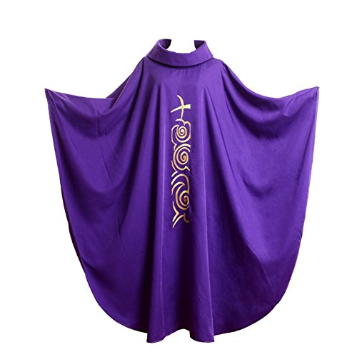 BLESSUME Priest Chasuble Vestments Robe Roll Collar Embroidery Mass Garment