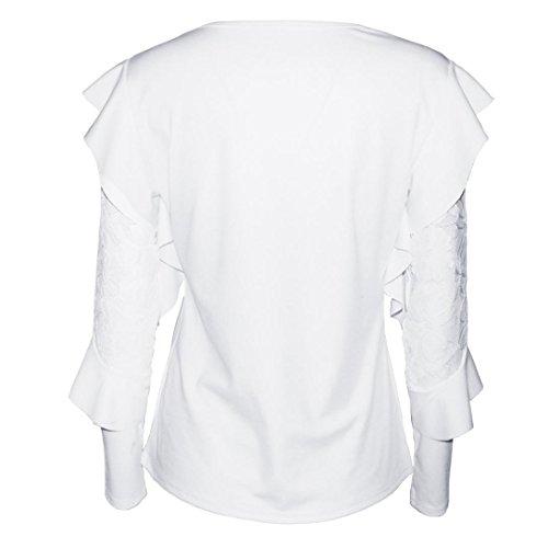 ados soiree pas cher femme femme fashion Blanc DAY8 Printemps blouse longue t femme shirt top taille ete femme femme femme chic vetement fille manche chemise haut grande vetements mode dentelle q0HRf