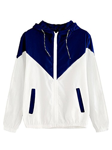 Milumia Women's Color Block Drawstring Hooded Zip Up Sports Jacket Windproof Windbreaker X-Large Blue ()