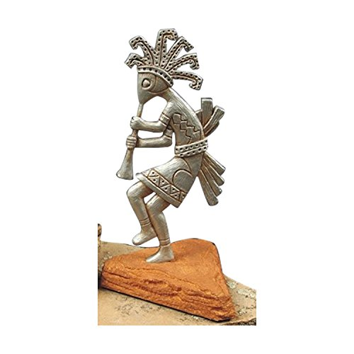 Fine Southwestern Figure - Kokopelli on Red Rock Base - Silver - Kokopelli Kachina