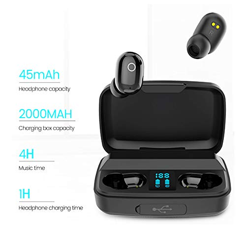 YHERRD Wireless Earbuds Noise Reduction Waterproof Headphones Touch Control Stereo Bluetooth Headset in-Ear with Charging Case Earphone Built-in Mic for Work Home Office Sport