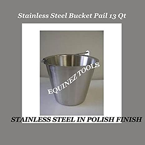 Stainless Steel Bucket Pail 13 Qt Dog Kennel Farm Water Milk Feeding Heavy Duty