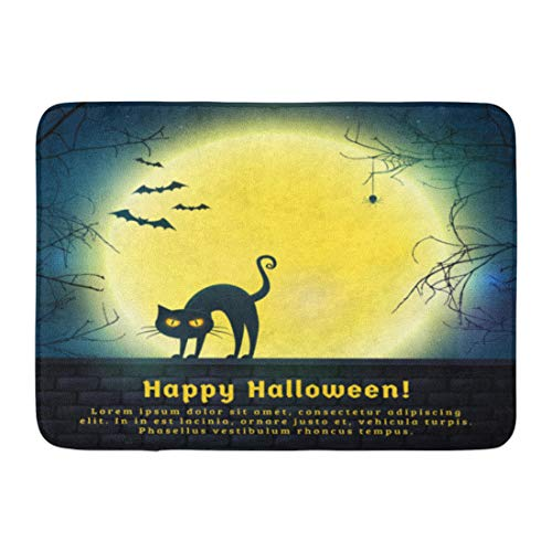 Emvency Bath Mat Happy Halloween with Full Moon and Evil Cat Spooky Night with Copy Space for Greetings Promo Text Bathroom Decor Rug 16