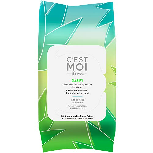 Cest Moi Clarify Facial Wipes   Gentle Face Cleansing Wipes, Controls Breakouts, Clinically Tested Natural & Organic Non-Toxic Ingredients Including 1% Salicylic Acid for Acne, 30 Biodegradable Wipes