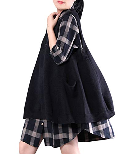 YESNO WM9 Women Casual Cute Sweater Vest Loose Swing Hemline/Pockets (L, WM9 Black)