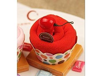 yter toalla tartas Cupcake caja de servilletas caja de guantes de baño dulce mano toalla de baño Baby Shower toalla de Navidad cadeau-rouge: Amazon.es: ...