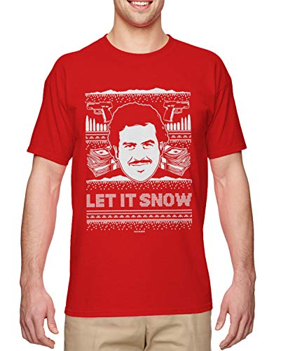 Santa's Reindeers Names In Order (Let It Snow - Famous Drug Lord Ugly Christmas Men's T-Shirt (Red,)