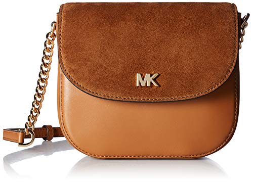 (MICHAEL Michael Kors Leather and Suede Saddle Bag, Color 203 Acorn)