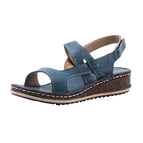 COOlCCI_2019 New Womens Casual Espadrilles Trim Rubber Sole Flatform Buckle Ankle Strap Open Toe Sandal Heeled Sandals Blue