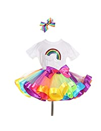 traderplus Rainbow T-Shirt and Ballet Tutu Skirt with Hair Bows Set for Baby Girls