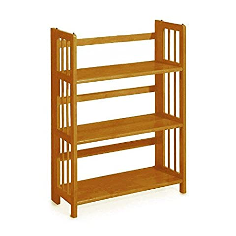 Home Decorators Collection 3-Shelf 38 in. H x 27.5 in. W Honey Oak Folding/Stacking Bookcase - 3 Shelf Stacking Bookcase