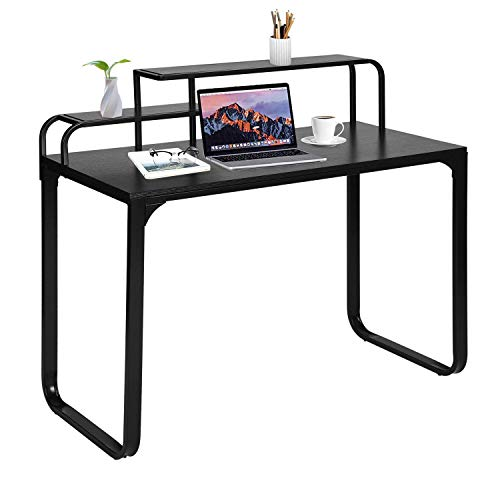 GreenForest Computer Desk with Shelves Industrial Style Laptop Workstation for Home Office, Black