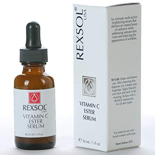 REXSOL Vitamin C Ester Serum | An Ultimate Multi-Action Brightening Serum | With Hyaluronic Acid & Vitamin E | For Body, Face, Neck, Bikini, Sensitive Areas & All Skin Types.(30 ML / 1 FL OZ)