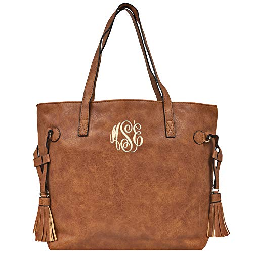 Monogrammed Vegan Leather Women's Shoulder Tote With Tassels (Camel) -