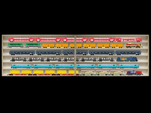 2E11ALR Vitrine murale avec vitres en plexiglas clair largeur totale 140 cm, 2 éléments: droit et gauche, dimensions 140 cm x 58 cm x 10,5 cm Avec rainures pour échelle H0 collection miniature moto collecteur dé à coudre tableau d'affichage train pion peti