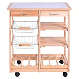 Giantex Rolling Wood Kitchen Trolley Cart Dining Storage Drawers Stand Countertop