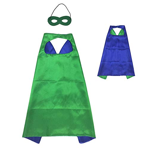 Green Superhero Girl (Reversible Kids Superhero Cape with Felt Mask Set for Boys Girls Dress up Costumes Halloween Birthday Party Favors, Green and Blue -)