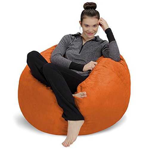 Sofa Sack - Plush, Ultra Soft Bean Bag Chair - Memory Foam Bean Bag Chair with Microsuede Cover - Stuffed Foam Filled Furniture and Accessories for Dorm Room - Tangerine (Microsuede Child Recliner Chair)