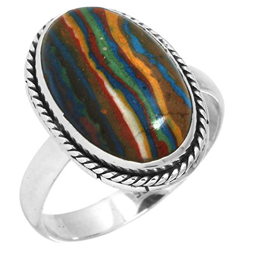 Solid 925 Sterling Silver Handmade Jewelry Natural Rainbow Calsilica Ring Size 7 from Jeweloporium