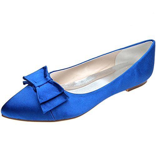 Loslandifen Womens Elegant Pionted Toe Wedding Ballet Flats Dress Shoes(2046-09chouduan41,Blue)