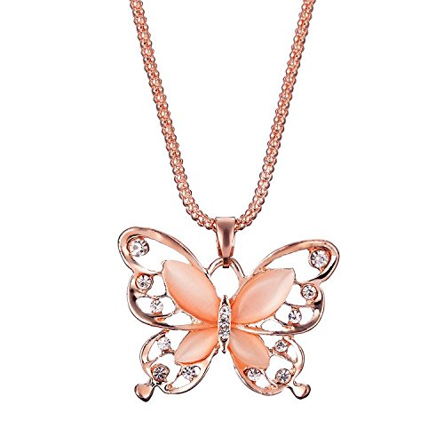 Women Necklace, 1PC Fashion Womens Lady Rose Gold Opal Butterfly Pendant Necklace Sweater Chain Hot Jewelry Gift (Rose Gold)