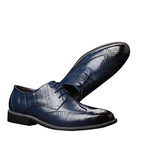 Uomo Blu Style British Punta Pelle Scarpa Scarpe Stivali Comfort di Elegante Uomo Vestito Pelle Classico per Casual Affari Pelle Oxfords Mocassini Piedi Martin Sintetica in Scarpa dnx64q1d