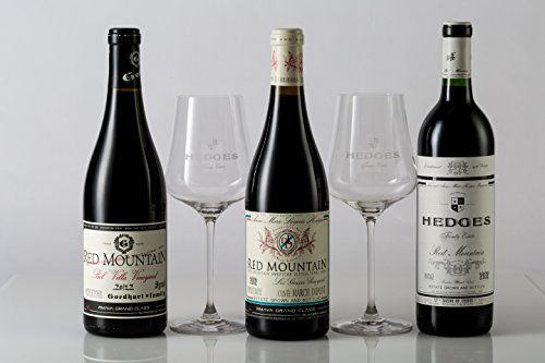 Hedges Family Estate Red Mountain Expert Gift Set with 2 Gabriel Glas Glasses, 3 x 750 mL