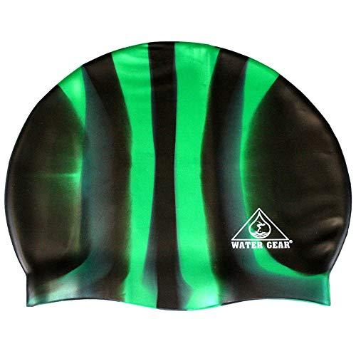 (Water Gear Jazz Silicone Swim Cap Black/Green Candy Stripe)