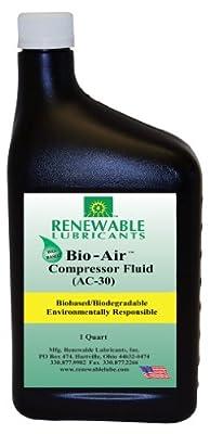 Renewable Lubricants Bio-Air Compressor AC-30 Fluid Oil, 1 qt Bottle