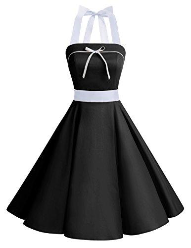 Dresstells® Vestido Mujer Corto Lunares Halter Retro Vintage Rockabilly Black