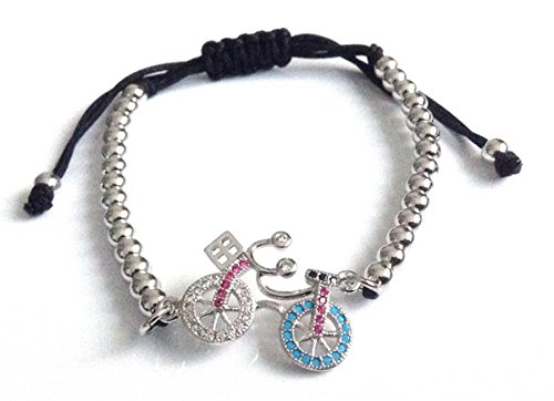 Bike Charm Sliding Clasp Adjustable Silver Plated Bracelet for Women