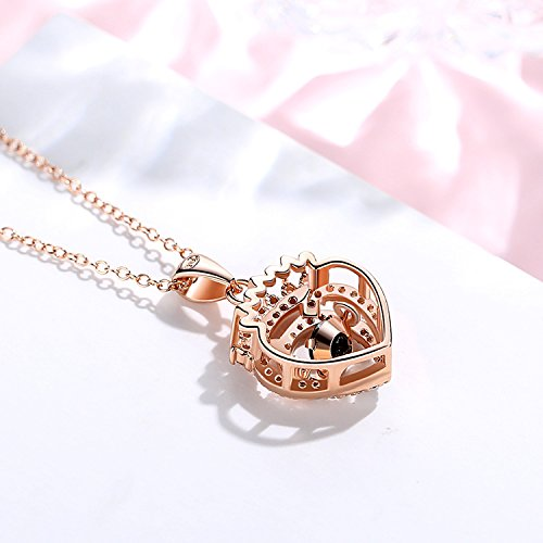 Ashley Jeweller Sterling Silver Necklace Dancing Crown Pendant Made with Cubic Zirconia 18 Love Gift