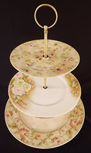 Three Tier Stand, Jewelry Stand, Vanity Stand, Cake Plate, Tray, Mismatched Plates, Cupcake Stand, Dessert, Appetizer, Tidbit, Vintage, Antique, Floral