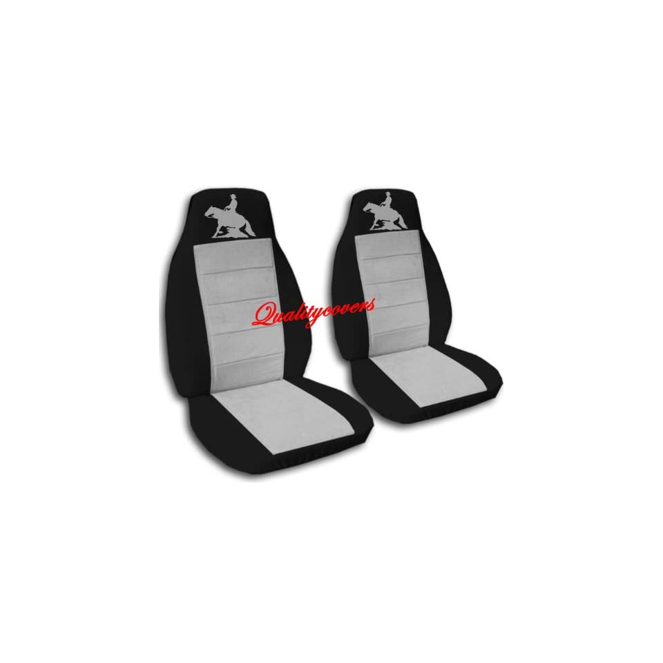 Black and silver Reining Horse seat covers. 40/60 split seat covers for a Ford F 150 Super Crew cab. Center console included