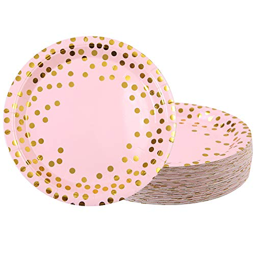 Elcoho 60 Pieces 9 Inches Paper Plates Disposable Plates Pink Plates With Gold Foil Dots for Party, Birthday, Wedding, Anniversary ()