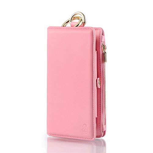 iPhone 7/8 Plus Zipper Wallet Case,SIX-SEVEN Detachable PU Leather Wallet Protective Folio Case with Credit Card Slots Money Pocket Clutch Cover Lightweight Smart for Men Women,Pink
