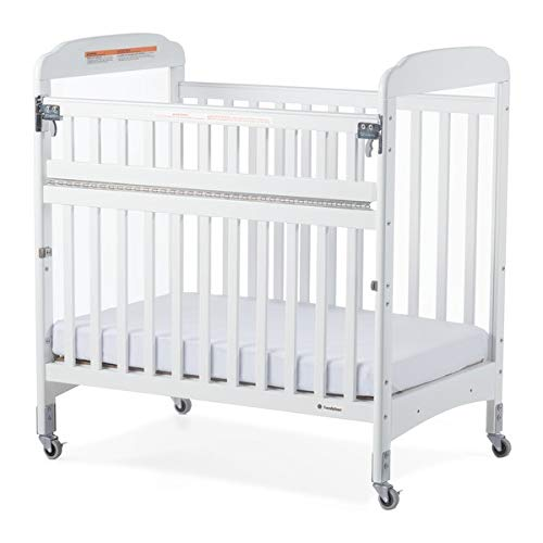 Compact SafeReach Crib w/Adjustable Mattress Board - Clearview-Natural - White