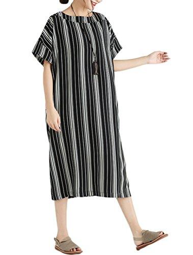 Donna Manica Casuale Nero Mallimoda A Vestito Abito Righe Dress Corta dBqqITw
