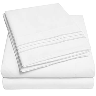 1500 Supreme Collection Bed Sheets Set - PREMIUM PEACH SKIN SOFT LUXURY 4 PIECE BED SHEET SET, SINCE 2012 - Deep Pocket Wrinkle Free Hypoallergenic Bedding - Over 40+ Colors- Queen Size, White