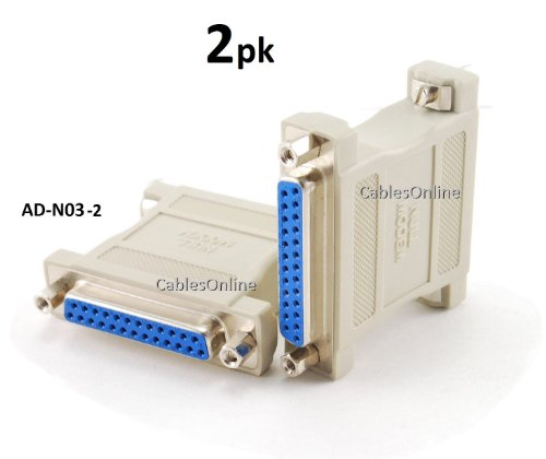 CablesOnline DB25 Null Modem Female to Female Data Transfer Adapter/Gender Changer , (2-Pack) (AD-N03-2)