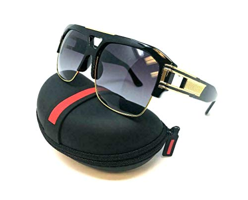 Gazelle B-Boy Square Metal & Plastic Retro Aviator Sunglasses (Black & Gold Frame w/Case, Black Gradient)