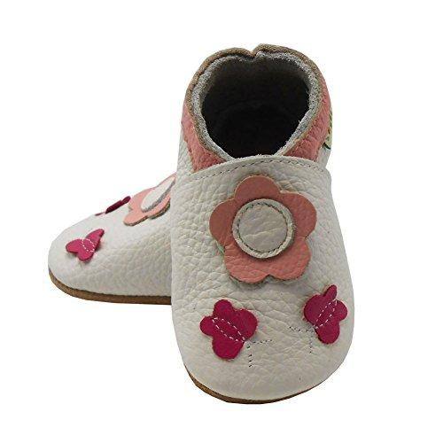 Sayoyo Suaves Zapatos De Cuero Del Bebé Zapatillas flor de mariposa Blanco