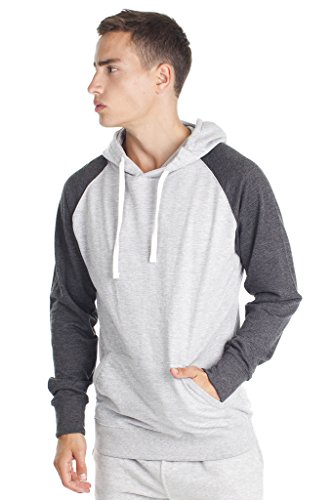 Mens Pullover Sweatshirt Two Tone Hoodie with Fashion Fit, Grey Charcoal, (2 Tone Hoodie)