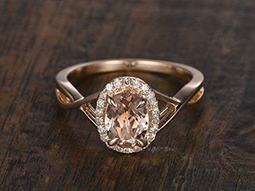 6Ct Oval Cut Peach Morganite Diamond Halo Anniversary Ring 14K White Gold Finish