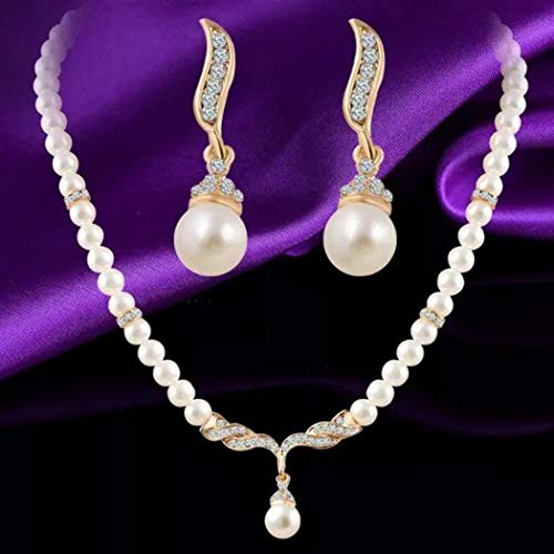 Todens Crystals Angel Wings Jewelry Set Pearl Beads Jewelry Choker Pendants Necklaces Earrings Sets ()