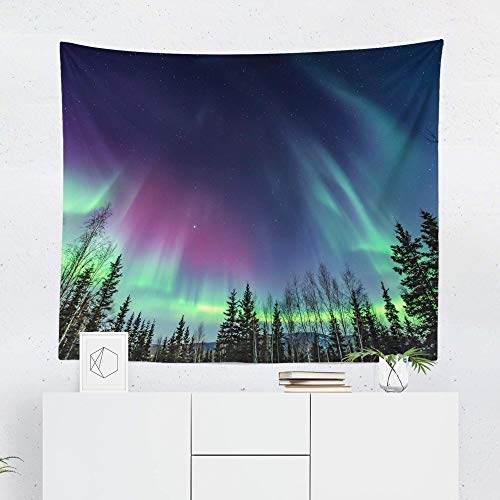 Northern Lights Tapestry Wall Hanging Aurora Borealis Amazing Beautiful Colorful Tapestries Decor College Dorm Living Room Art Gift Bedroom Dormitory Bedspread Small Medium Large - Printed in the USA