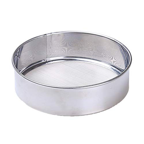 (BESTONZON 2pcs Stainless Steel Flour Sifters 15cm Manual Flour Mesh Sieves Powdered Sugar Duster Sifters for Baking Kitchen (Silver))