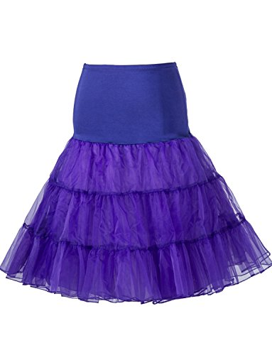 BeiQianE Femmes 1950 Vintage Petticoat genou Tutu jupe jupon Underskirt demi Slips Crinoline pour la noce Violet