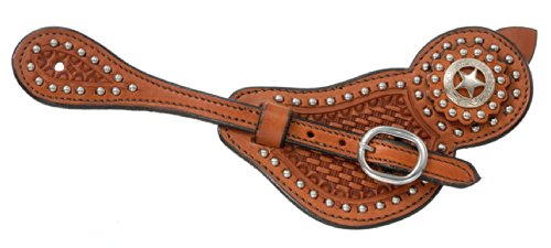 Tough 1 Royal King Lined Cowhide Spur Straps with Basket Tooling and Dots, Medium Oil ()